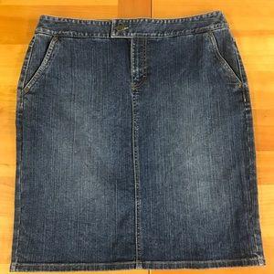 Ann Taylor Loft blue denim skirt 10